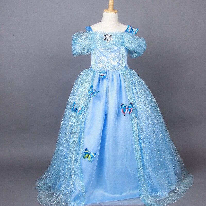 Fashion birthday party princess style blue maxi children cinderella ball gowns<br><br>Aliexpress