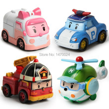 4pcs/lot robot Transform festival gifts deformation helicopter fire truck police action figure super wings doll boys girls toy