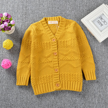 Autumn Girls Sweater Cardigans Toddler Girls Cotton Jumper Knitwear Childrens Kids Long-Sleeve V-Neck Sweater Coat