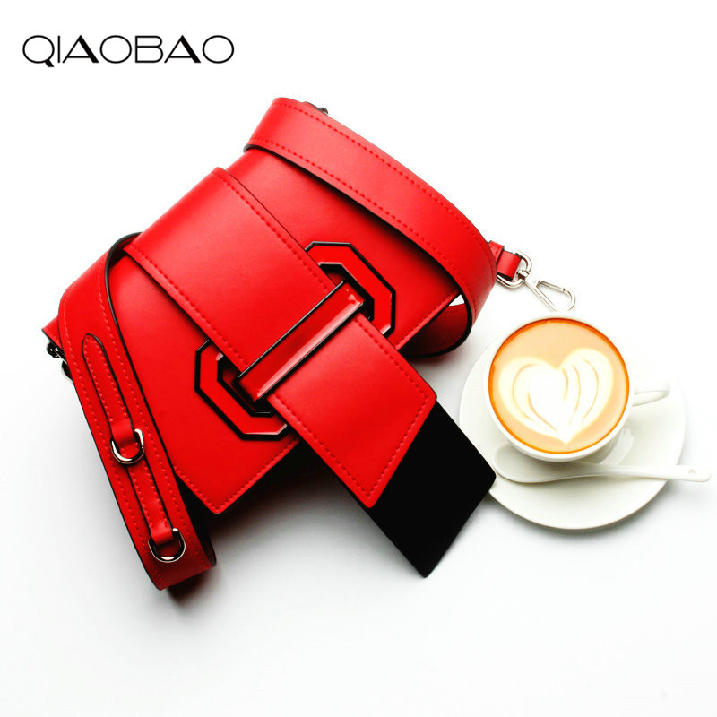 QIAO BAO 100% genuine leather bagTote women messenger bags Satchel Shoulder handbag Crossbody Bags bolsa feminina<br>
