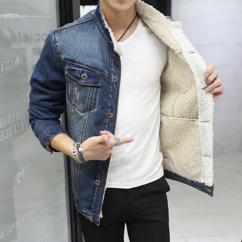 Spring Autumn Winter New 2018 men lambswool jean Coat With 4 Pockets Long Sleeves Warm Jeans Coat Outwear Wide Denim Jacket