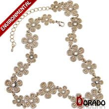 Dorado Cheap Sale  Women Fashion Shiny Gold Color Flower Pattern Link Chain Choker Statement Necklace