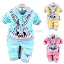 Drop shipping New 2016 Spring Baby Set Velvet Rabbit Cartoon Print Hoodie+ Pant Twinset Long Sleeve Velour Baby Clothing Sets Fr