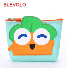BLEVOLO Cute Cartoon 3D Radish Silicone Coin Purse Carrot Expression Pattern Zero Wallet Zipper Women Coin Bag Pouch Purses(China)