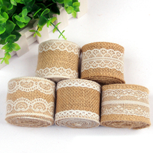 Buy 2M /Roll 5cm Width Jute Burlap Natural Hessian Ribbon Lace Trim Edge Wedding Christmas Rustic Vintage Decoration Craft for $1.39 in AliExpress store