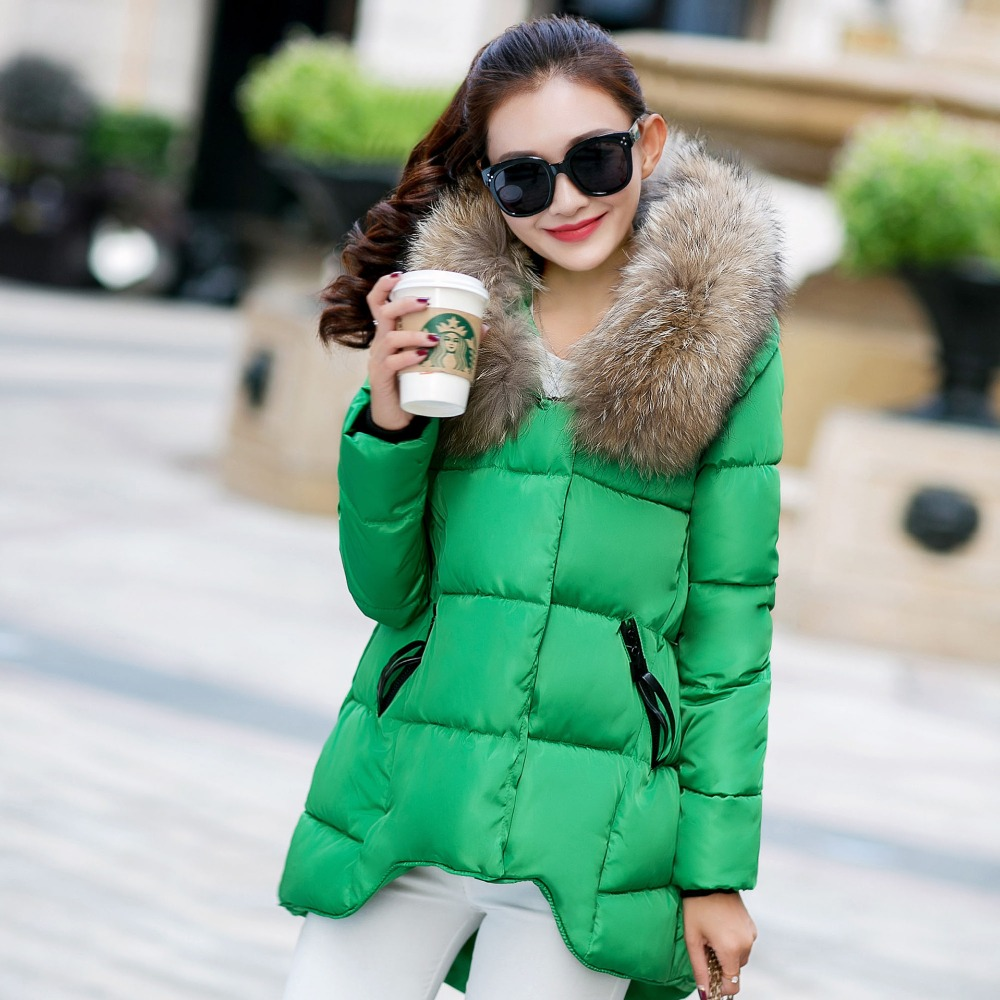 2017 New Asymmetric Winter Down Coat Large Fur Hooded Parka Women Jackets Cotton Padded Thick Warm Bomber Jacket Doudoune FemmeОдежда и ак�е��уары<br><br><br>Aliexpress