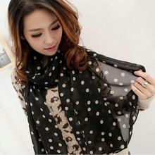 1PC lovely Fashion Women Girls Long Wrap Lady Shawl Polka Dot Cozy Comfortable Soft Chiffon Christmas Party  Scarves Stole 2016