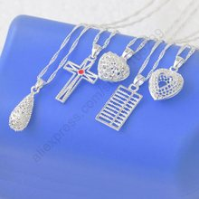 "JEXXI Wholesale 10PCS Mix Genuine 925 Sterling Silver Charms Water Drop Cross Heart Abacus Pendant Necklaces +18"" Chains"