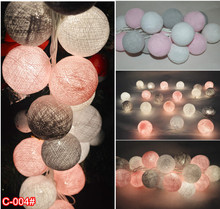 mixed 20 White-Pink-Gray cotton ball string lights for Patio,Wedding,Party luminaria christmas natal garland decor