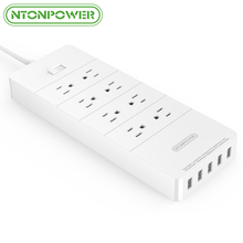 NTONPOWER HPC US Plug USB Power Socket ETL Listed with Overload Switch/ Surge Protection 8AC Outlet 5Port 2.4A Smart USB Charger