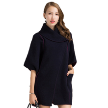 Autumn and winter new cashmere sweater ladies genuine long thick sweater jacket fashion a buckle coat