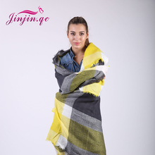 Jinjin.QC brand Winter Scarf 2017 Tartan Cashmere Scarf Women Plaid Blanket square Acrylic Basic Shawls Womens Scarves and wraps(China)
