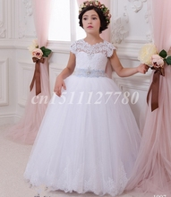 White Lace Flower Girl Dresses for Weddings 2017 Appliques Beading Ball Gown First Communion Dresses for Girls Detachable Train