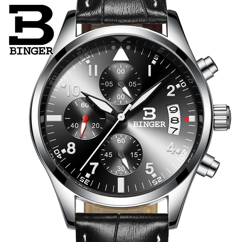 Binger CHRONOGRAPH &amp; 24 Hours Function Sport Watch Leather Black Luxury Men Watch Men Top Brand Military Watch relogio masculino<br>