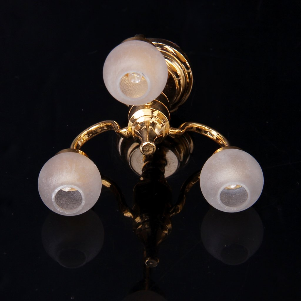 6 arms chandelier Bright battery LED LAMP Dollhouse miniature light 1:12 BRASS