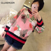 CLUXERCER Brand hoodies women O-Neck print decoration Ladybug butterfly beading Space cotton Pink Casual Sweatshirts tops women