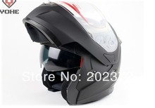 undrape face helmet  matte black YOHE 953 doublelens dual motorcycle Motorbike ABS shell, Lining can unpick and wash