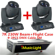 2pcs Sharpy Beam 230W Beam 7R Moving Head Light with Flight Case +2PCS DMX Cable 5M Disco Lights for DJ Club Nightclub Party