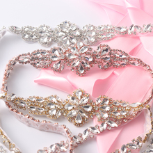 Full Length Rhinestones Appliques Sewing On Wedding Dresses Belt Sashes Rose Gold Silver Crystal DIY Bridal Accessory(China)