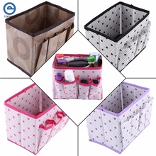 Non Woven Multifunction Make Up Storage Box Folding Container Desktop Case Cosmetics Organizer