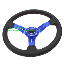 350mm Rally Steering Wheel Leather With Small Holes Racing Car Steering Wheel Blue Arms(China)