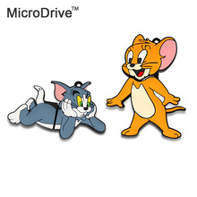 Tom and Jerry Cartoon usb pen 64GB 32GB 16GB 8GB 4GB Creative gift cat mouse USB Flash Drive Memory Stick gift Creative usb disk(China)