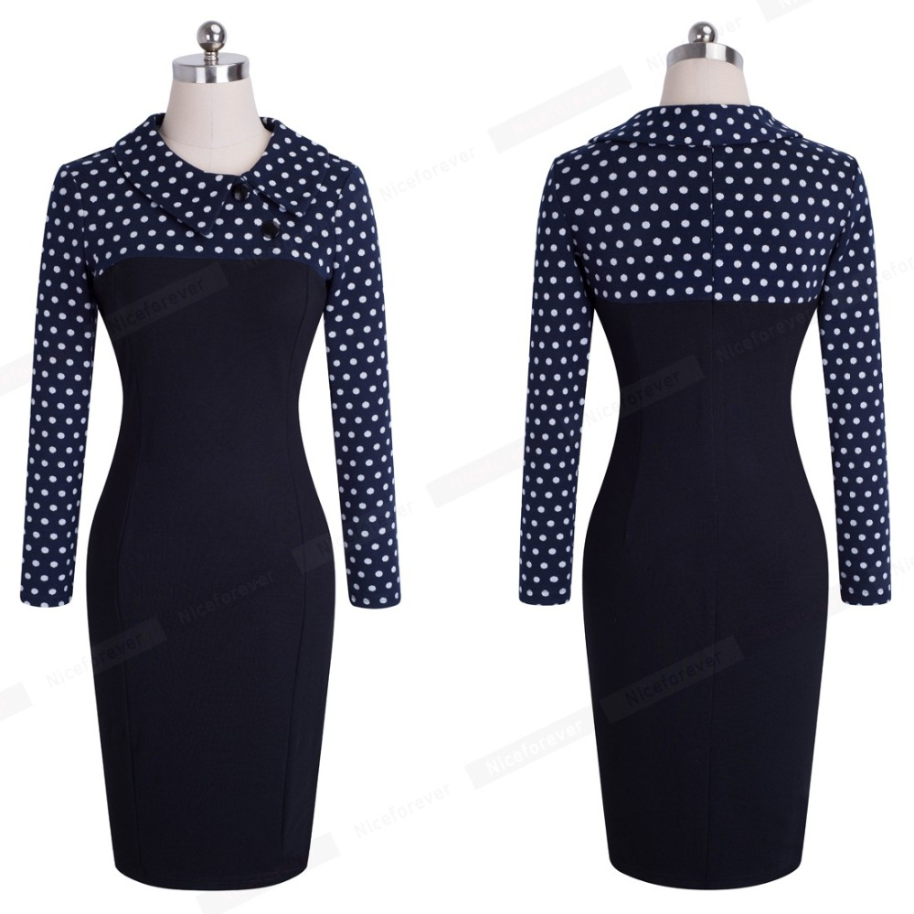 Nice-forever Elegant Vintage Fitted winter dress full Sleeve Patchwork Turn-down Collar Button Business Sheath Pencil Dress b238 22