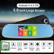 KKmoon 5Inch 1080P Android WIFI Car Rearview Mirror Dual Lens Car DVR Camera Recorder Car Smart System GPS Navigation