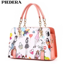 Phedera Fashion Summer Women Handbag Cartoon Pattern PU Leather Ladies Tote Bags Satchels Female White Candy Color Hand Bags(China)