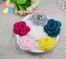 2pcs 5.8cm Handmade Knitting Cotton Sew-on Crochet Flower DIY Headwear & Garment Sewing Accessories 20010098(5.8D2)