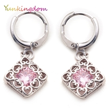 Yunkingdom vintage square fashion drop earrings pink crystal simple jewelry wholesale