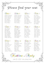 The unique printable wedding seating plan digital file provided only can be birthday or christams party unique table