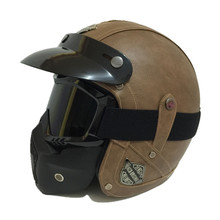 Vintage leather motorcycle helmet Retro harley style Scooter helmet Men/women's 3/4 Moto casco Goggles Mask for open face helmet