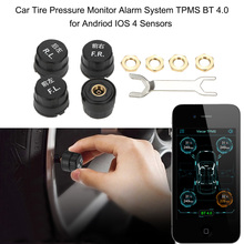 Car TPMS Tire Pressure Monitoring System Auto Security Car Alarm System BT 4.0 for Andriod IOS 4 Sensors Car Diagnostic Tool(China)