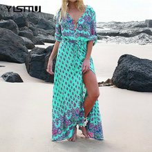YISTTU Summer Beach Boho Dress Plus Size Women Floral Maxi Half Sleeve Wrap Bohemian Vintage Long Tunic Vestidos 4XL 5XL - Shop2962200 Store store