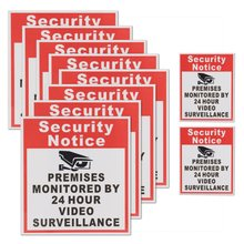 10Pcs Camera Video Surveillance Sign Sticker Security Notice Premises Monitored By 24 Hour(China)