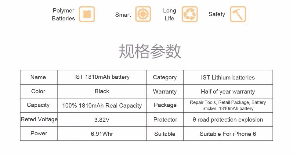 NEW 2017 100% Original KHP Phone Battery For iPhone 6 Capacity 1810mAh Repair Tools 0 Cycle Replacement Mobile Batteries Sticker (11)