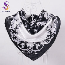 [BYSIFA] Black White Floral Large Square Scarves Wraps New Design Female Elegant Satin Scarves Wraps Head Scarf 90*90cm