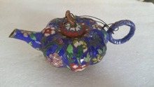 Exquisite Chinese Collectible Decorated Old Handwork Cloisonne Carved Flower Pumpkin Tea Pot