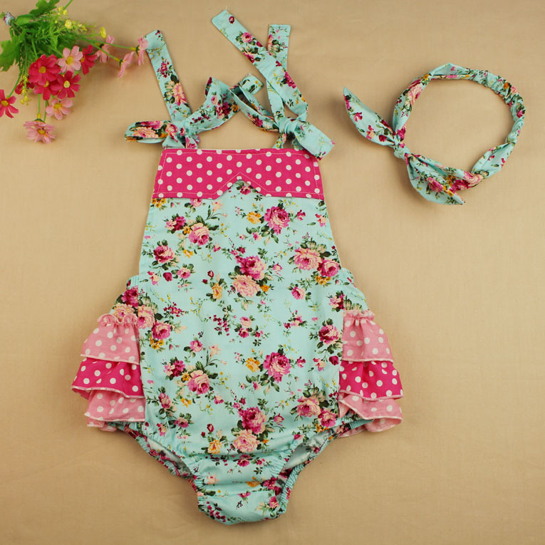 new arrive Floral Ruffle Baby Romper Vintage Infant Romper matched  headband for  Baby Girl<br><br>Aliexpress