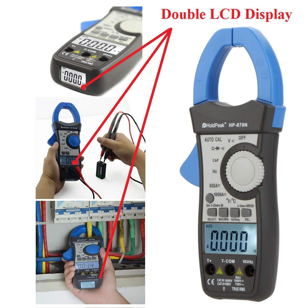 HoldPeak HP-870N Auto Range Multimetro Digital Clamp Meter Multimeter Pinza Amperimetrica Amperimetro True RMS Frequency Tester<br>