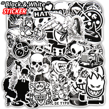 100 Pcs/50 Pcs de Vinil Estilo do Carro Adesivo Preto E Branco Bagagem Skate Deacals Motocicleta Laptop Legal Do Doodle DIY adesivos(China)