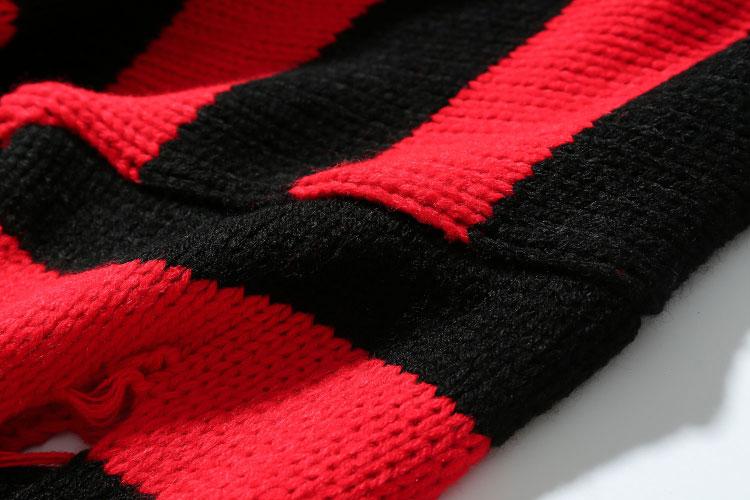 Ripped Stripe Knit Sweaters 6