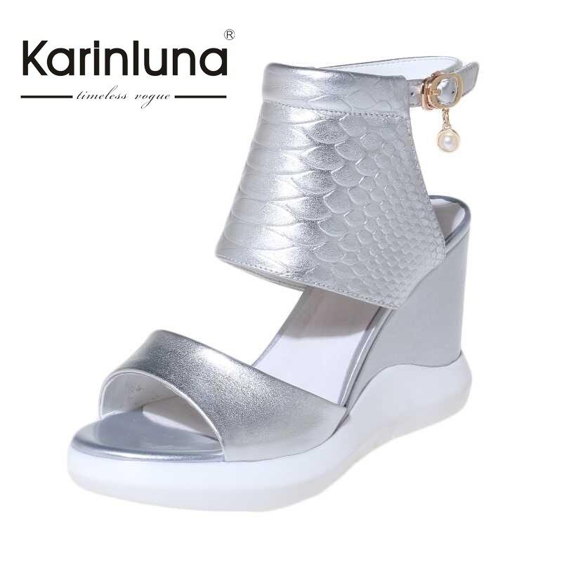 KARINLUNA Gladiator Women Sandals Fashion High Heel Wedges Open Toe Platform Summer Shoes For Woman 2017 New Size 34-40<br><br>Aliexpress