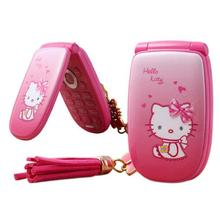 2 battery Hello Kitty Pretty flashlight mini mobile phone W88 Luxury Music Girl Lady Children Kids Cell Phones Russian Keyboard(China)
