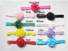 Free Shipping!2014 New 30Pcs/Lot Satin Flower Headbands Elastic head bands Kid's Hairbands turban Hair Accessories
