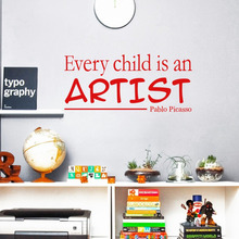 Every Child Is An Artist Pablo Picasso Vinyl Quotes Wall Stickers Art Decals for Kids Room Decor