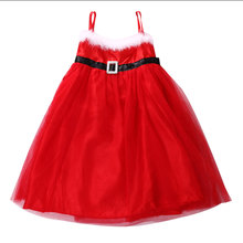 Newest Baby Girls Fashion Santa Tulle Dress Red Party Kids Tie Tanks Dress Christmas wear