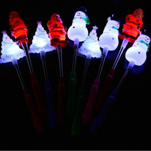 2017 Christmas LED Flashing Sticks Santa Claus Snowman Light Up Spring Sticks Gift Toys Christmas Glow Party Supplies New Year(China)