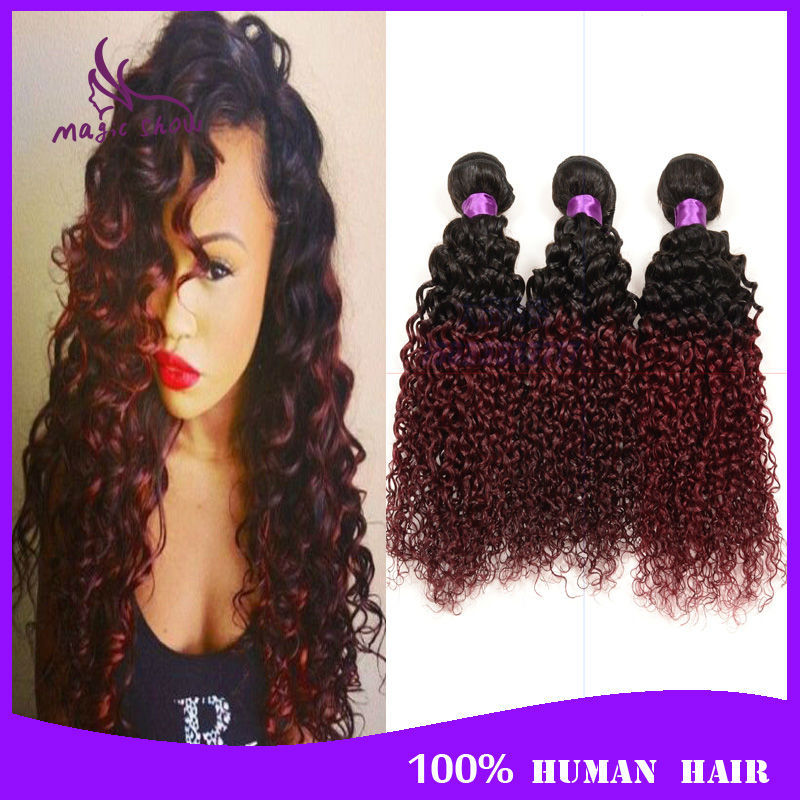 6A Ombre Brazilian Virgin Hair Kinky Curly 4 Bundles Two Tone 1B Burgundy Brazilian Hair Weaves Red Ombre Human Hair Extensions<br><br>Aliexpress